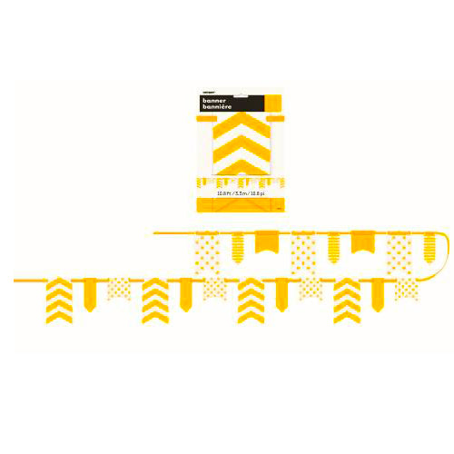 yellow paper party birthday banner