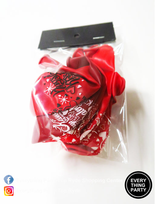 "Valentine's Day - 11"" Printed Latex Balloons 6pks,Balloon - Everything Party"