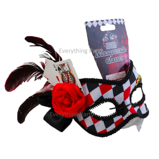 Harlequin Eye Mask with Red Flower