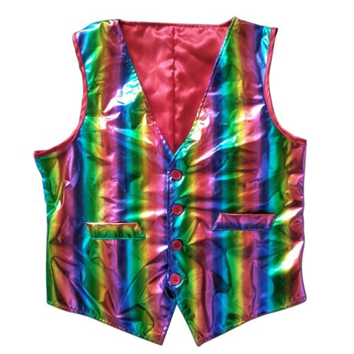 Adults Shiny Rainbow Waistcoat, Mardi gras rainbow vest