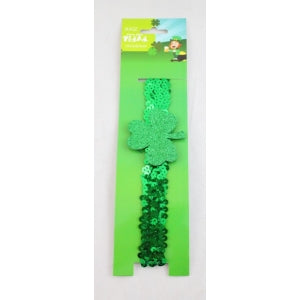 shamrock headband, green sequin headband with shamrock, st patricks headband