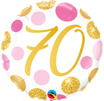 70th birthday pink and gold foil balloon, happy 70th birthday balloon
