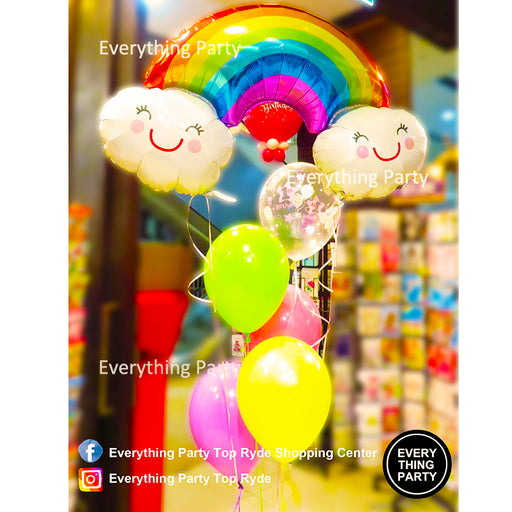 1st birthday girl rainbow cloud helium balloon bouquet