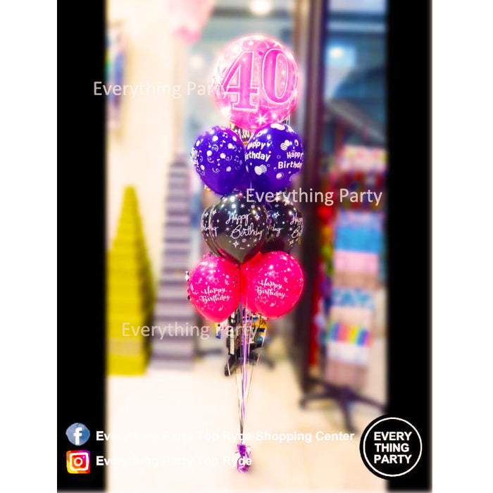 40th birthday helium balloon, pink bubbles balloon arrangement