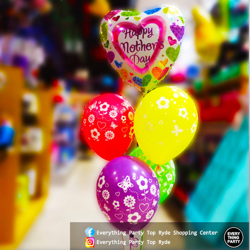 Mother's Day Heart shape helium balloon bouquet