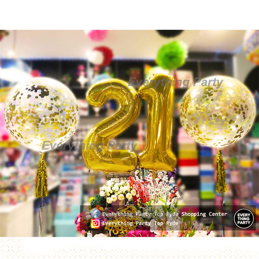 21st birthday confetti balloon arrangement