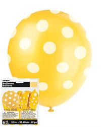 6 Pk Dot Yellow Latex Balloon