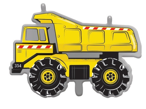 yellow dump truck foil balloon