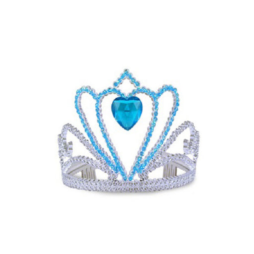 silver tiara with blue heart