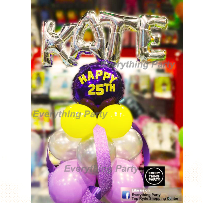 25th birthday table balloon arrangement