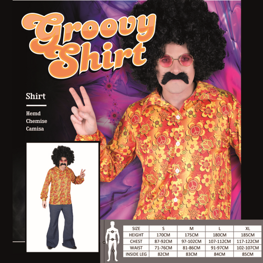 XL Purple Disco Shirt Adult Costume1970/'s Groovy Funky sizes S M L