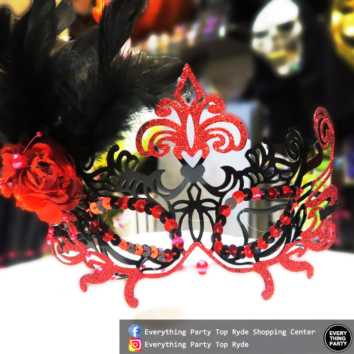 Black and Red Metal Mask