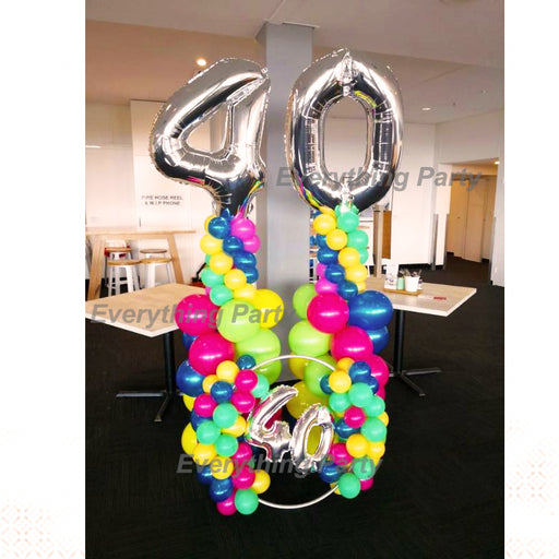 40th birthday balloon column and balloon ring decoration