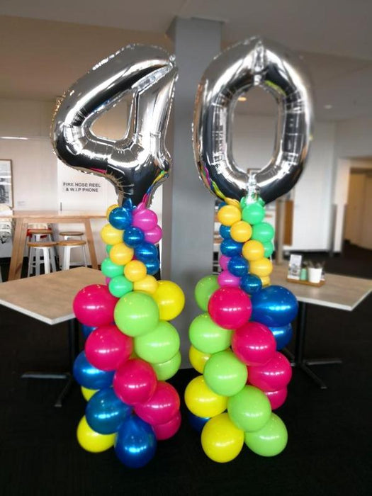 40th Birthday Balloon Column and Wreath Arrangement