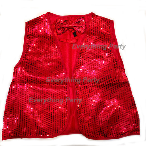 Red Disco Sequin Vest with Bowtie