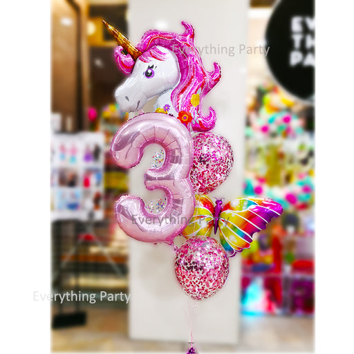 3rd birthday unicorn & butterfly helium balloon bouquet
