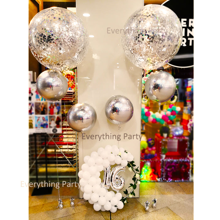 16th birthday silver confetti helium balloon bouquet