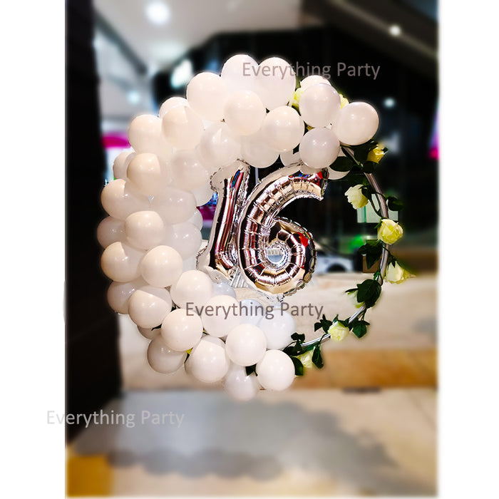 16th Birthday Silver Jumbo Confetti Balloon and Orbz Helium Balloon Bouquet
