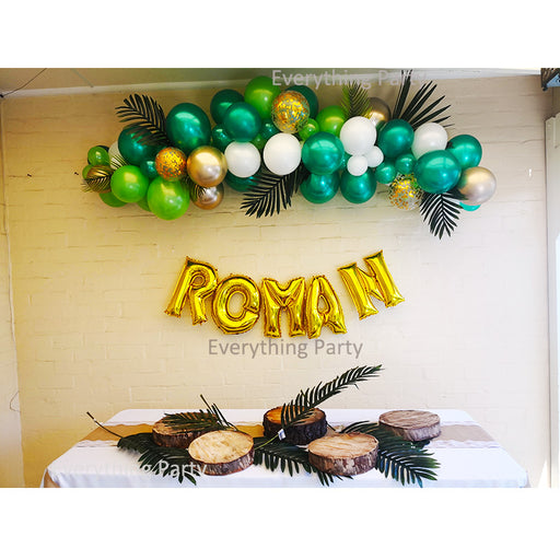 jungle theme balloon arch, balloon garland