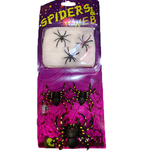 3pk Halloween Rubber Neon Spiders with Spider Web