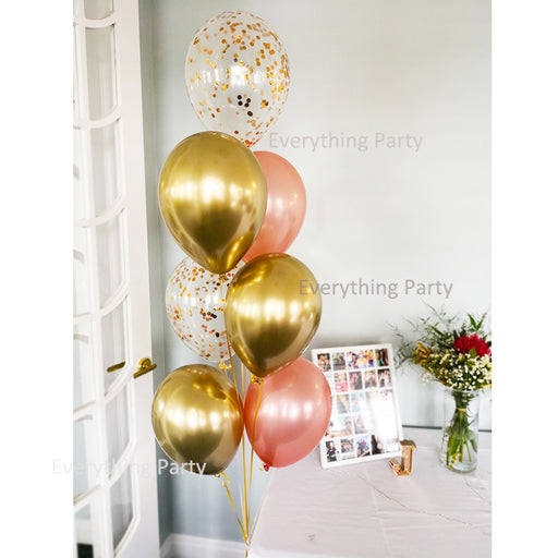 confetti balloon bouquet, chrome gold balloon bouquet