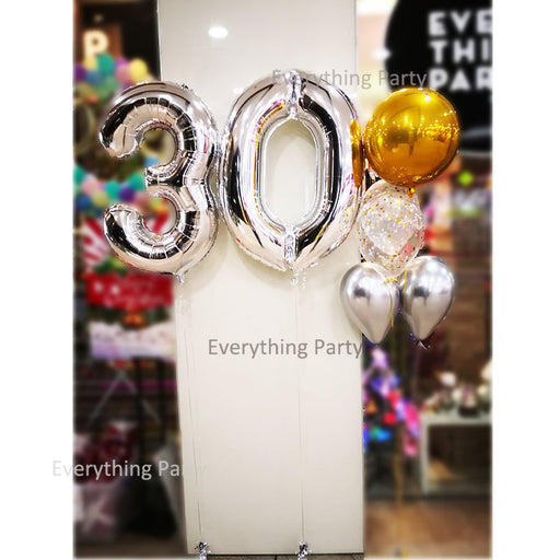 30th Birthday Helium balloon set