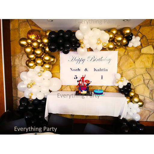 birthday half balloon arch, gold black white balloon garland