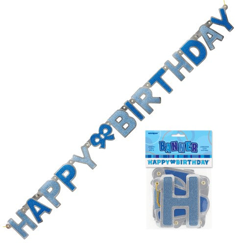 blue glitter Happy birthday joint banner