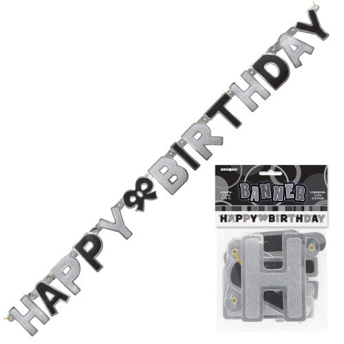 black glitter Happy birthday joint banner