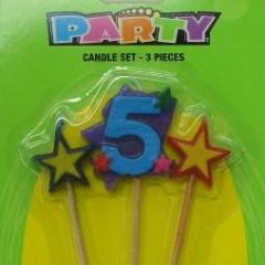 No.5 Birthday Candle set - Assorted Colour