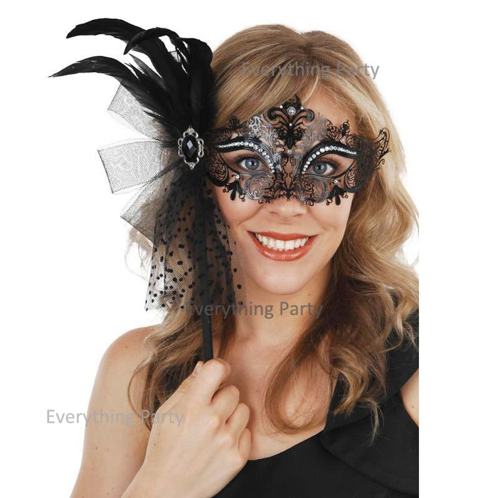 Masquerade metal mask with feather on stick