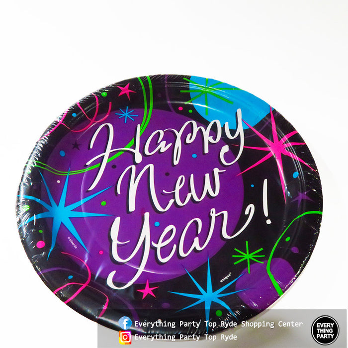new year paper plates
