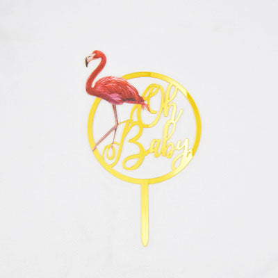 Flamingo cake topper, gold oh baby cake topper