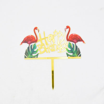 Flamingo cake topper, gold happy birthday cake topper
