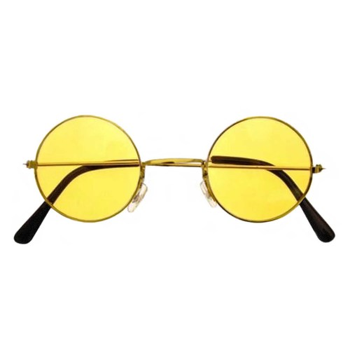 yellow lennon glasses, yellow hippie glasses
