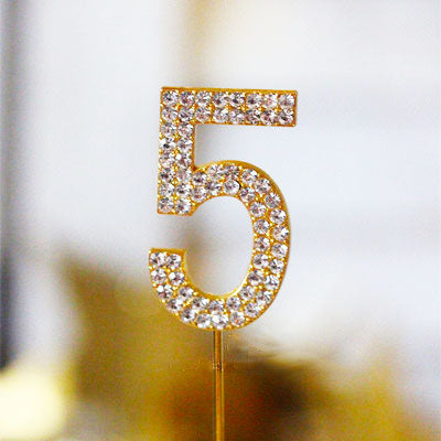 Metal Number Birthday Cake Topper With Crystal