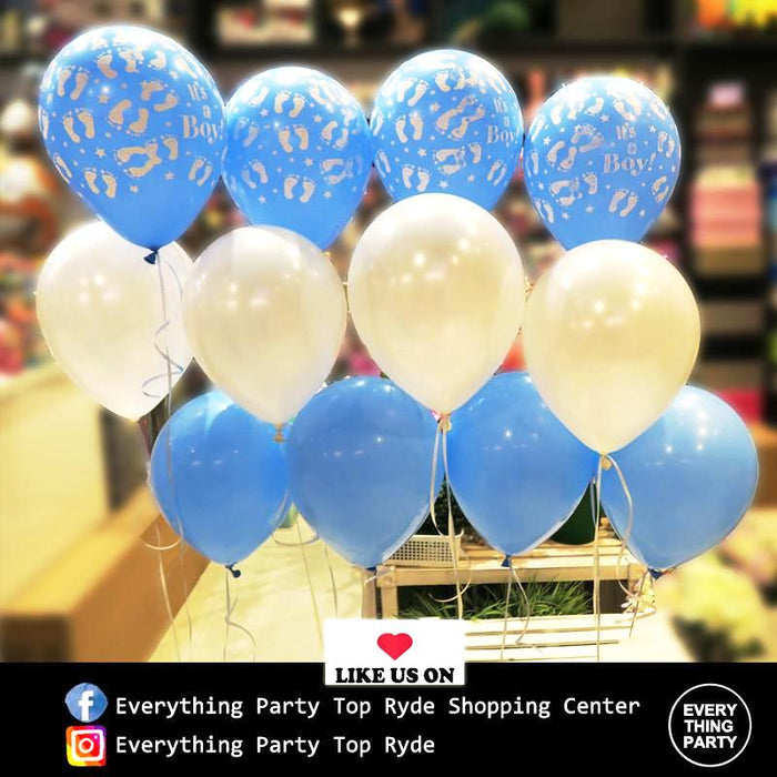 baby shower, baby boy footprint balloon arrangement