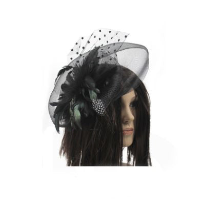 fascinator with feather and veil