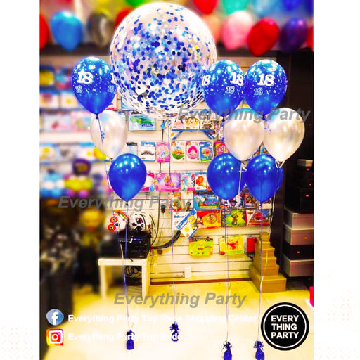 18th birthday 90cm Confetti balloon arrangement