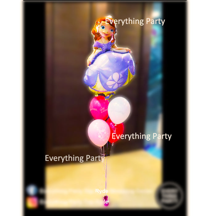 sofia birthday supershape foil helium balloon bouquet