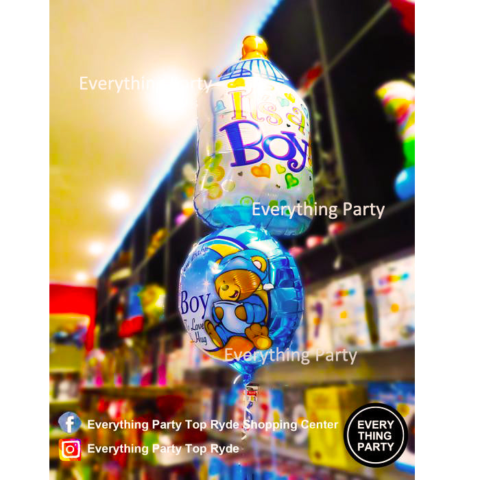 baby shower, it's a boy, baby boy, Milk bottle helium balloon bouquet