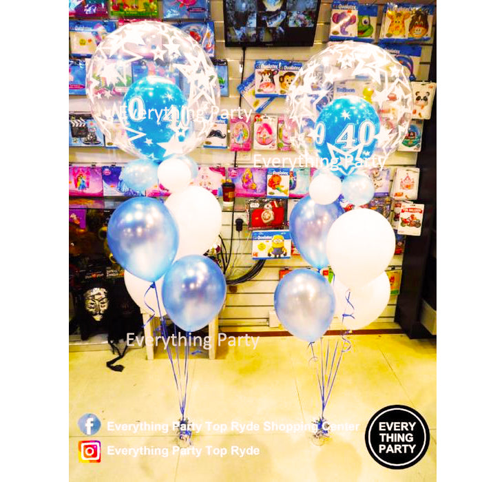 40th Birthday Helium Bubble Balloon Bouquet