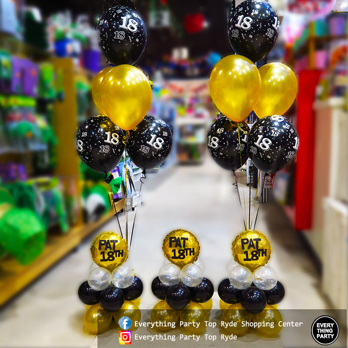 18th birthday helium balloon arrangement