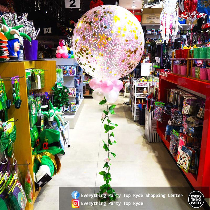 90cm Jumbo pink helium confetti balloon with leaves
