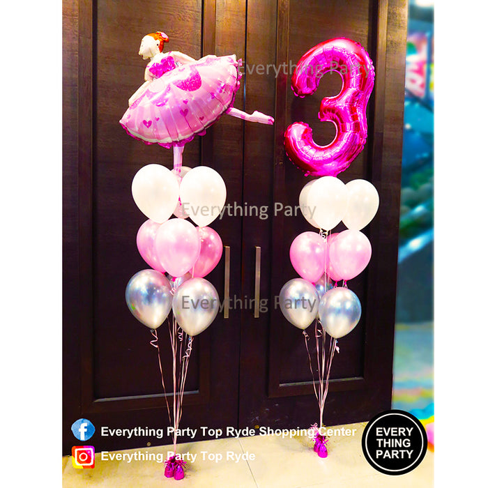 3rd birthday girl helium balloon bouquet