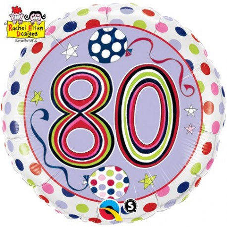 80th birthday helium balloon, 80th birthday rainbow balloon