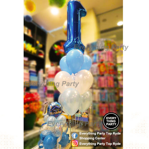 1st birthday boy helium balloon arrangement