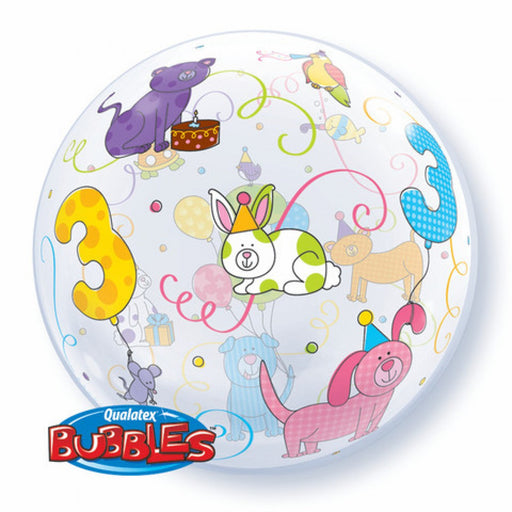 "22"" Qualatex 3rd Birthday Cuddlu Pet Bubbles Balloon"