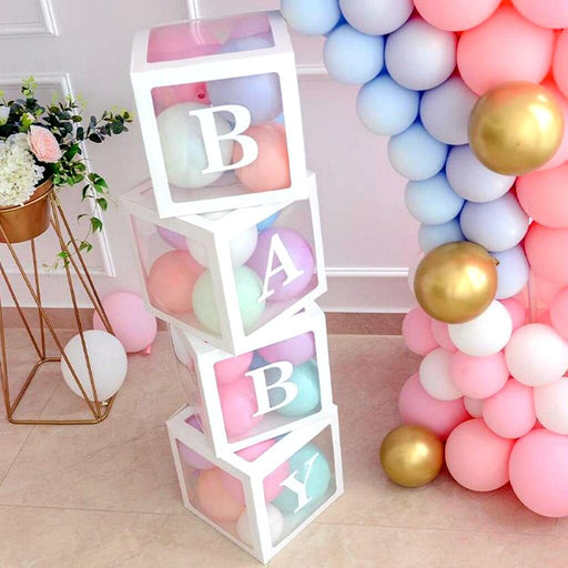 Party Hire - 'BABY' White Boxes Transparent Baby Shower Balloon Box with Balloons,Party Hire - Everything Party