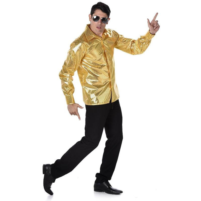 Gold sequin disco shirt